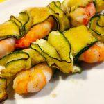 Spiedini di gamberi e zucchine